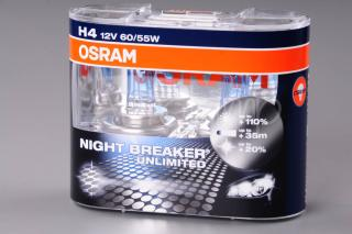 OSRAM NIGHT BREAKER UNLIMITED +110% H4, žárovka 12V 60/55W P43t 2 ks krabička
