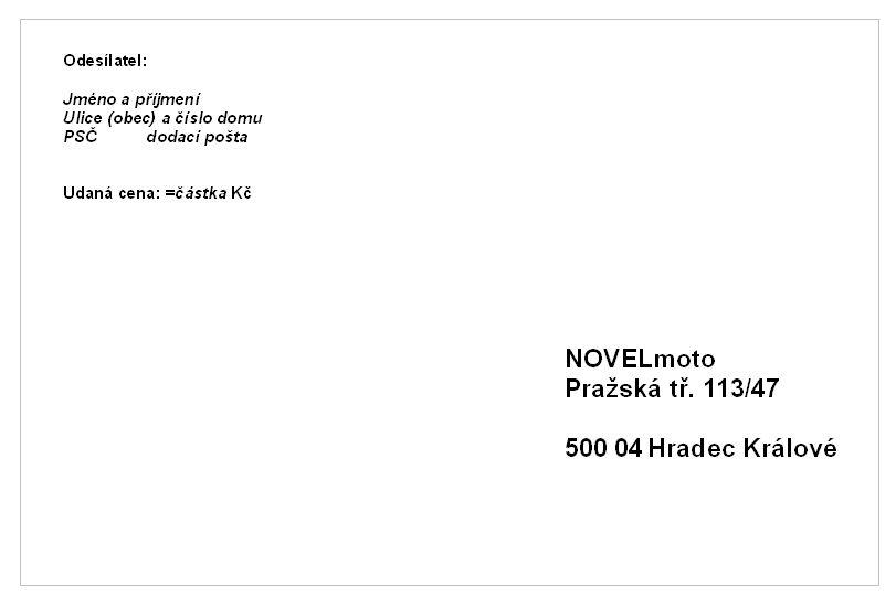 Vzor adresního štítku